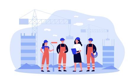 Team of builders onsite Vektoros illusztráció