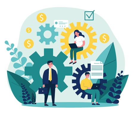 Teamwork strategy for office flat vector illustration