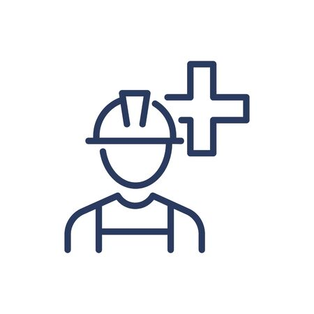 Employee Insurance thin line icon. Worker, job, plus isolated outline sign. Industry and protection concept. Vector illustration symbol element for web design and apps
