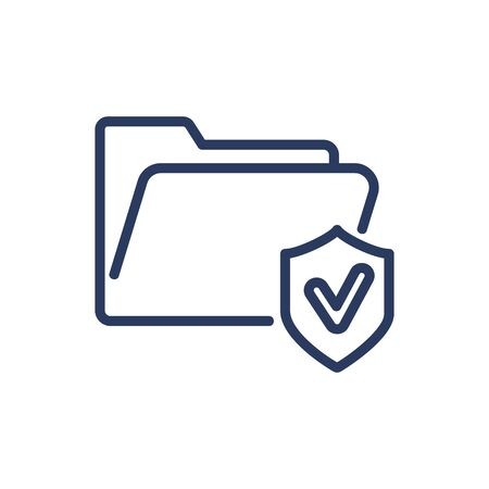 File and shield thin line icon