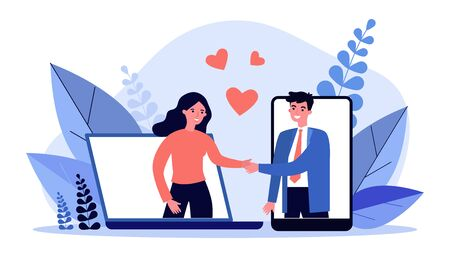 Couple meeting on dating website