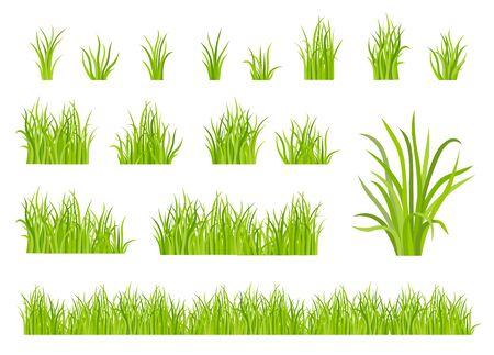 Green grass pattern flat icon set