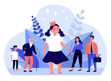 Annoyed angry girl wearing crown. Troubled child, upset parents, family flat vector illustration. Childhood, behavior problems concept for banner, website design or landing web page