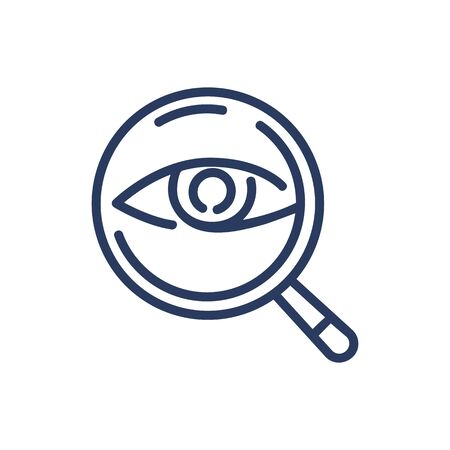 Eye under magnifying glass thin line icon