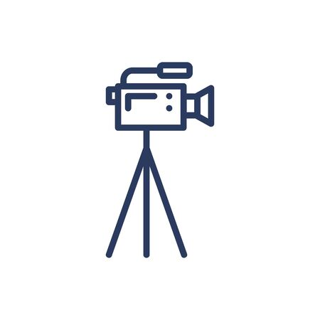 Camcorder thin line icon. Video camera, tripod, filming isolated outline sign. Moviemaking, reportage, cameraman concept. Vector illustration symbol element for web design and apps
