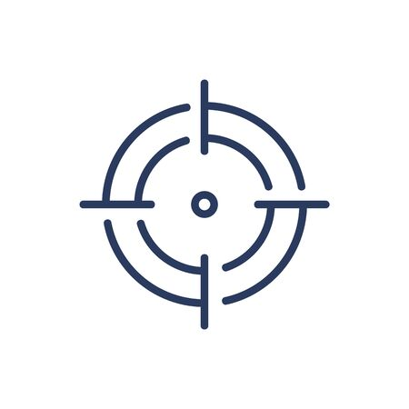 Point in focus thin line icon. Target, aim, crosshair isolated outline sign. Game, opportunity, marketing concept. Vector illustration symbol element for web design and apps