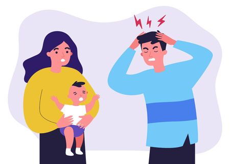 Young father tired of migraine because of crying baby Illusztráció