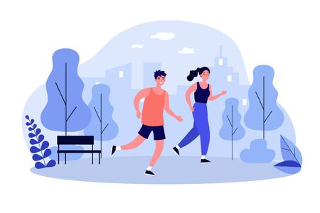 Happy joggers running at park flat vector illustration. Cartoon runners jogging marathon together. Sport, fitness and healthy lifestyle concept