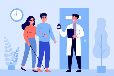 Disabled person visiting doctor office. Blind woman, assistant, hospital flat vector illustration. Disability, therapy, medical expertise concept for banner, website design or landing web page