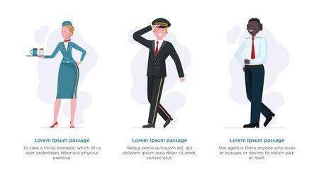 Air crew set. Stewardess, pilot, captain flat illustration. Airliner, flight, trip concept for banner, website design or landing web page 免版税图像