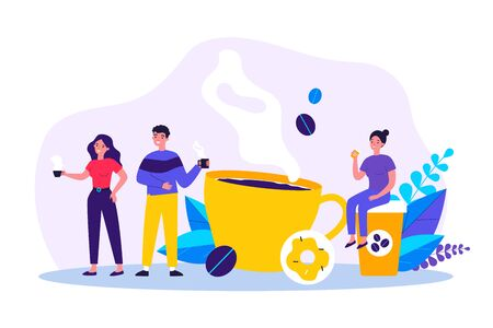 People at coffee break flat vector illustration. Tiny man and women relaxing, talking and drinking coffee. Communication and office experience concept