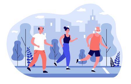 Senior people jogging in city park. Old men and women running marathon flat vector illustration. Lifestyle and sport concept for banner, website design or landing web page