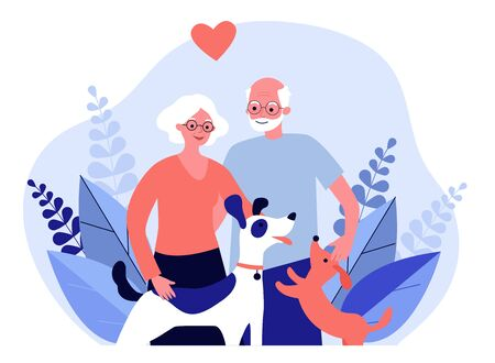 Happy senior couple with dogs. Family, pet, relationship flat vector illustration. Retirement and love concept for banner, website design or landing web page