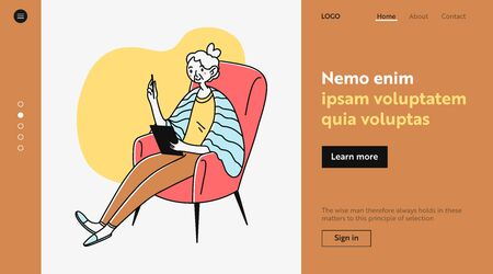 Elderly lady using online app on tablet. Old woman with device sitting in armchair flat illustration. Digital communication, internet concept for banner, website design or landing web page Archivio Fotografico