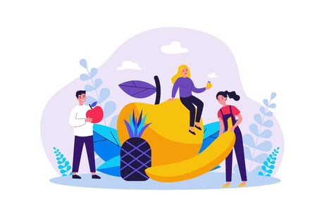 Happy people keeping healthy diet. Men and women holding fruits, apple, pineapple, banana. Vector illustration for fitness, dietitian nutrition, organic food concept