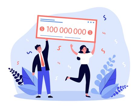 Happy winners holding bank check flat vector illustration. Man and woman winning jackpot for millions dollars. Lottery gain, money prize and grant concept