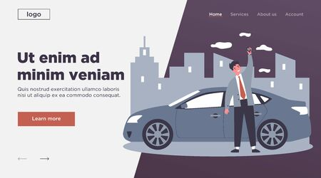 Happy young man leasing car flat vector illustration. Driver holding in hand keys to his new vehicle. Dealer making presentation for modern auto. Transport and lease concept 向量圖像