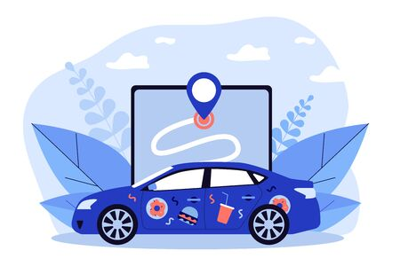 Car with food stickers. Restaurant courier vehicle, location app, address flat vector illustration. Service, food delivery, online order concept for banner, website design or landing web page Vettoriali
