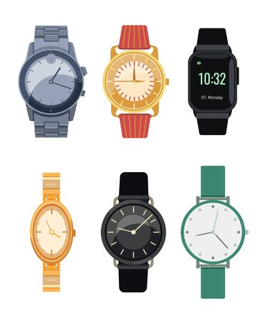 Elegant wristwatches flat icon collection. Isolated Digital hand watches for men and women vector illustration set. Isolated watches with bracelets. Fashion and time concept 向量圖像
