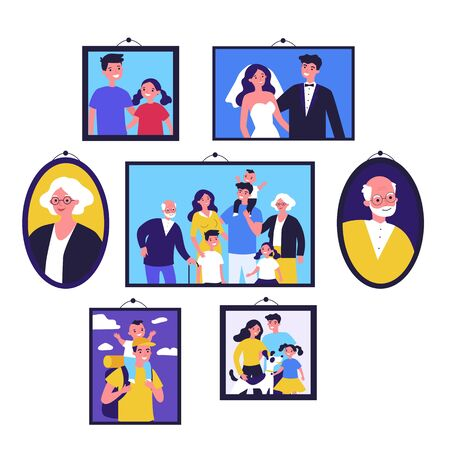 Pictures of happy family in frames on wall. Just married couple, parents, children, senior people framed photos. Vector illustration for photography, togetherness, dynasty, home gallery concept 일러스트