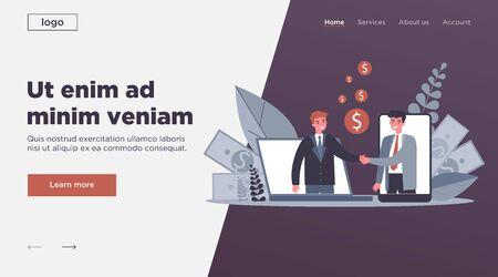 Partners shaking hands flat vector illustration. Businessman and sponsor beginning startup. Partnership, teamwork and relationship concept. 向量圖像