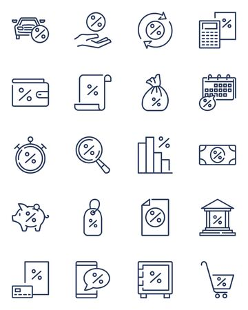 Bank interest line icon set. Loan product with percent sign, mortgage, debt, car credit, calculator, payment schedule, discount. Vector icon collection for economic, money, finance, investment topics