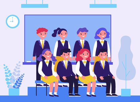 Happy students posing for photo in classroom Illustration