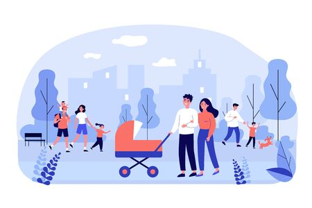 Happy family walking in park flat vector illustration. Cartoon young mothers and fathers with kids outdoors. Weekend, cityscape and lifestyle concept Vettoriali