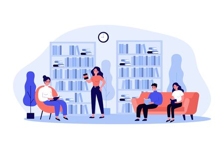 People in library flat vector illustration. Cartoon woman and man sitting on sofa, studying bookshelves and reading with books. Learning and knowledge concept