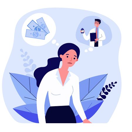 Sad woman thinking about money and medical prescription. Doctor, drug, payment flat vector illustration. Healthcare and therapy concept for banner, website design or landing web page Çizim