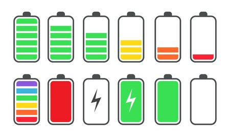 Phone battery charge status flat symbols set. Charge or recharge indicator, power loading isolated vector illustration collection. Smartphone UI symbols concept