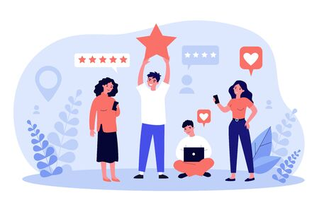 Happy customers giving feedback to service or online store. People with gadgets voting with rating stars. Vector illustration for client positive review, assessment, evaluation concept Stock Illustratie