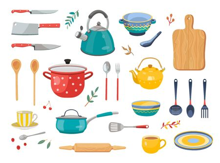 Modern various kitchen tools flat icon set. Kitchenware, cooking baking utensils isolated vector illustration collection. Cutlery and kitchen accessories concept 向量圖像