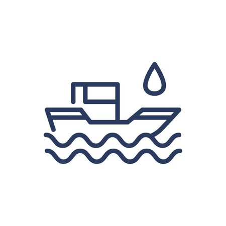 Oil transportation by ship thin line icon. Sea, barrel, petroleum isolated outline sign. Oil and gas industry concept. Vector illustration symbol element for web design and apps Illustration