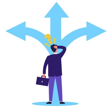 Adult person thinking about direction flat vector illustration. Man in formal suit having questions and choosing way for work. Three big arrows. Carrier and selection concept. 向量圖像