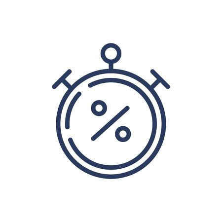 Clock and percent sign thin line icon