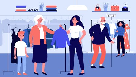 Senior people choosing clothes in fashion store. Old couple, customer, shop assistant flat vector illustration. Clothing, shopping, sale concept for banner, website design or landing web page