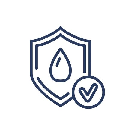 Wet protection thin line icon. Water, dry, shield isolated sign. Comfort and sleeping concept. Vector illustration symbol element for web design and apps