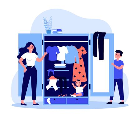 Parents finding baby in wardrobe Illustration
