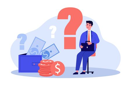 Sad man concerned about financial problem, money need and unpaid loan debts. Male character, question mark, wallet with cash. Vector illustration for finance, bankruptcy, trouble concept