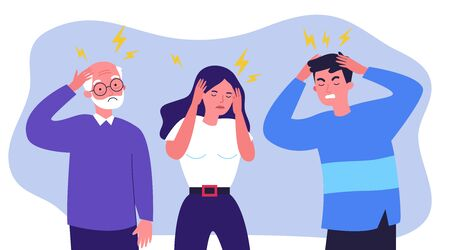 Stressed people suffering from headache