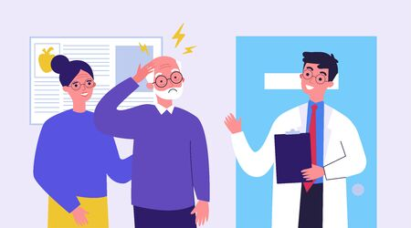 Senior man going to doctor because of migraine. Physician consulting patient in pain flat vector illustration. Depression and headache concept for banner, website design or landing web page Иллюстрация