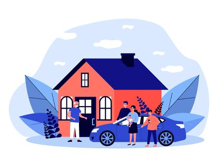 Children and grandchildren visiting grandpa. Country house, family meeting at entrance flat vector illustration. Togetherness, family, support concept for banner, website design or landing web page