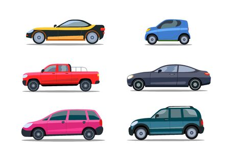 Colorful modern cars flat icon collection