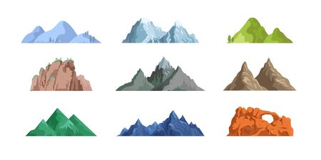 Mountains and rocks flat icon collection