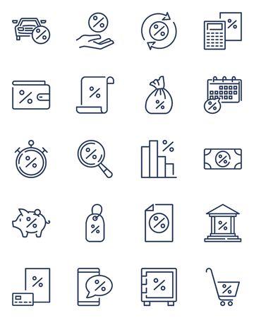 Bank interest line icon set