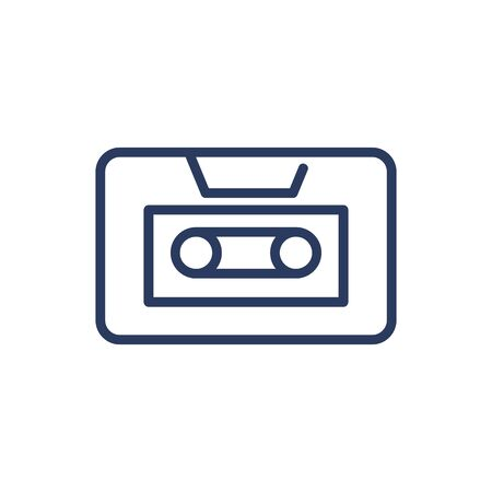Audio message thin line icon. Tape, cassette, reel isolated outline sign. Communication, sound technology concept. Vector illustration symbol element for web design and apps