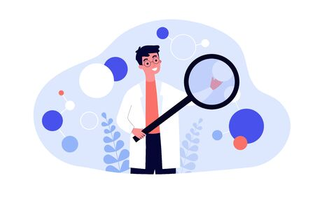 Scientist in lab coat checking algorithm flat vector illustration. Cartoon character with magnifier researching artificial neurons. Science, technology and neuroscience concept Ilustrace