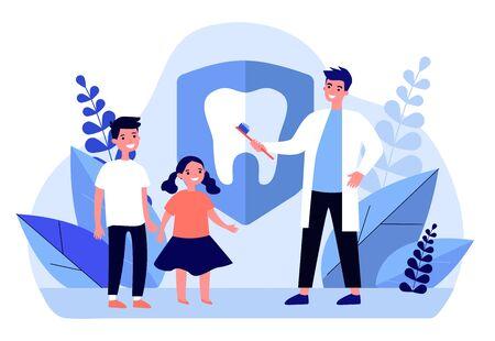 Dentist teaching kids to brush teeth. Children, orthodontist, clinic flat vector illustration. Awareness day, dental care concept for banner, website design or landing web page