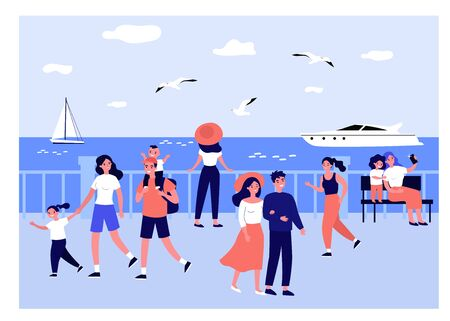 Happy people walking along sea on quay isolated flat vector illustration. Cartoon characters relaxing at seaside and watching boats. Summer activity and vacation concept Çizim